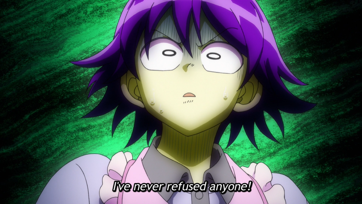 Iruma in greens and purples, horrified. Subtitle: I've never refused anyone!