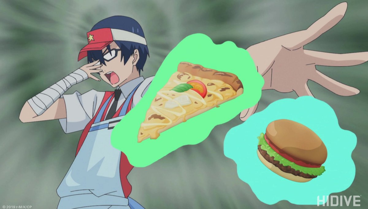 A glasses-wearing boy in a fast food uniform dramatically flinging his arm out while pizza and a hamburger psychically float toward the screen