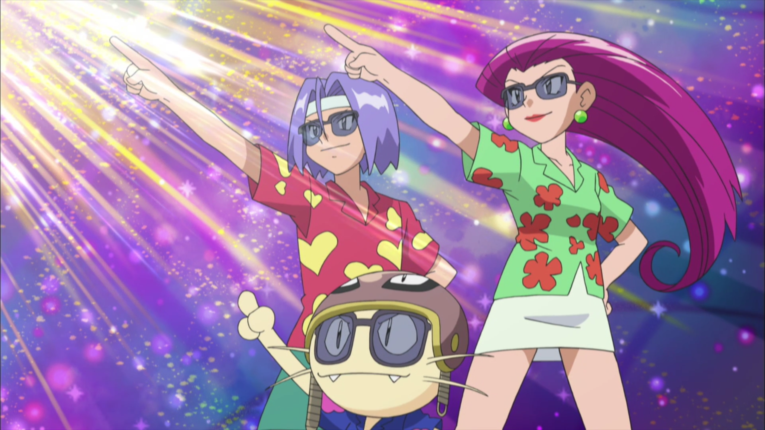 Team Rocket wearing Hawaiian shirts and sunglasses strike a determined, heroic pose and point dramatically towards a sunburst