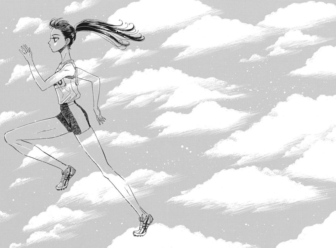 Akira in her track uniform, running across a field of clouds