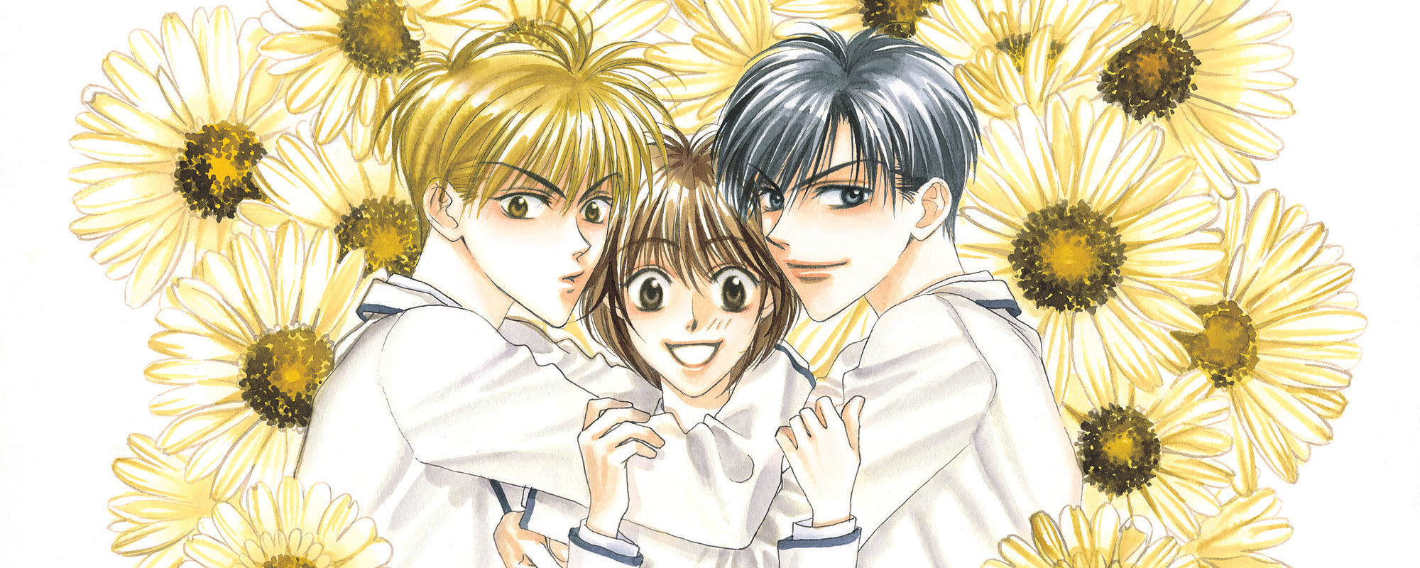 Two boys hugging a boyish girl against a background of sunflowers