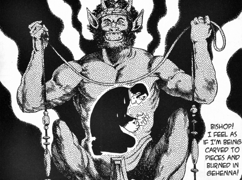 A man crouches as if in pain in front of a figure of a demon with a chain.